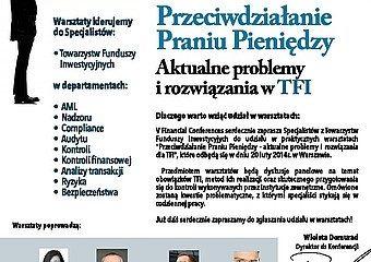 """""""Przeciwdziałanie Praniu Pieniędzy – aktualne problemy i rozwiązania dla TFI"""" – warsztaty"""